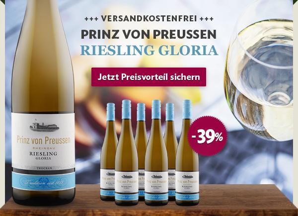 6 Flaschen Prinz von Preußen Gloria Riesling - portofrei!